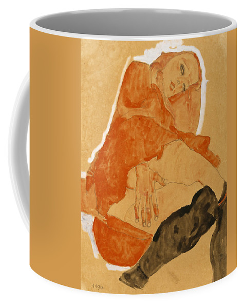 Egon Schiele Coffee Mug featuring the drawing Girl In Red Robe And Black Stockings by Egon Schiele