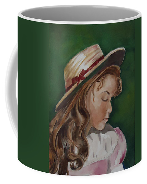 Girl Coffee Mug featuring the painting Girl In Ribboned Straw Hat by Charme Curtin