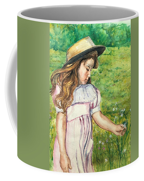 Little Girl Coffee Mug featuring the painting Girl In Straw Hat by Charme Curtin
