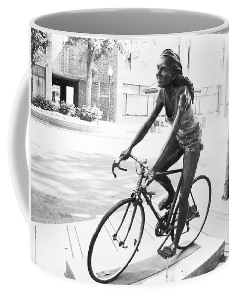 Girl On Bike Sculpture Grand Junction Coffee Mug featuring the photograph Girl On Bike Sculpture Grand Junction Co by Tommy Anderson