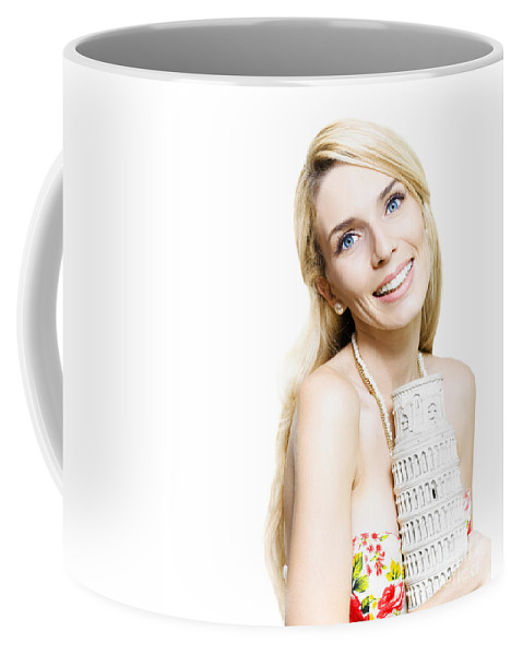 Adventure Coffee Mug featuring the photograph Girl Reminiscing A Trip To Europe With A Memento by Jorgo Photography - Wall Art Gallery