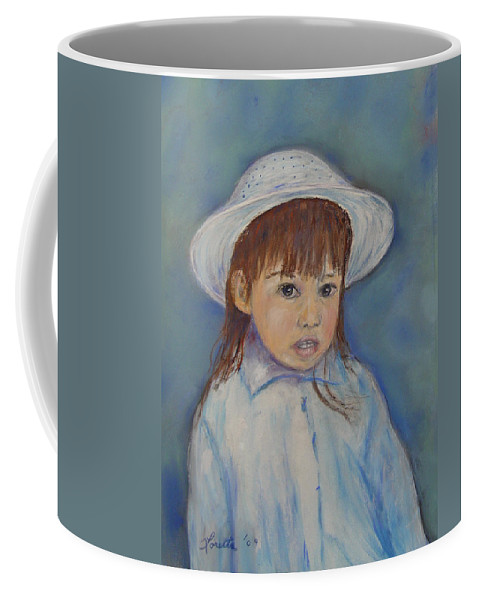 Girl Coffee Mug featuring the painting Girl With A Hat by Loretta Luglio