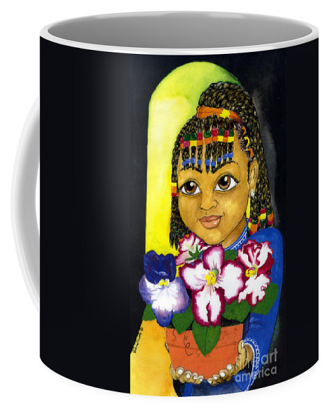 Girl Coffee Mug featuring the painting Girl with African violet by David Willis