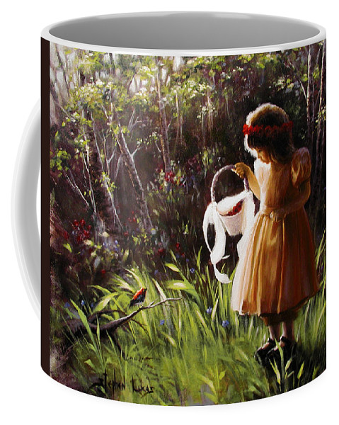 Coffee Mug featuring the painting Girl With Basket Of Roses by Stephen Lucas