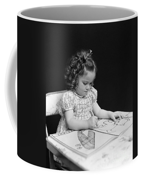 1930s Coffee Mug featuring the photograph Girl With Coloring Book, C.1960-40s by H. Armstrong Roberts/ClassicStock