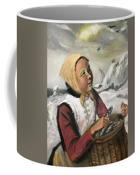 Coffee Mug featuring the painting Girl With Fish Basket by James Yook