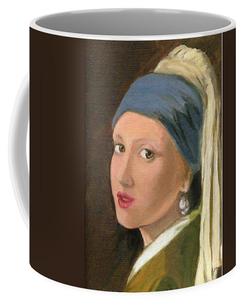 Vermeer's Famous Painting Reproduced Coffee Mug featuring the painting Girl With Pearl Earring Of Vermeer by Asha Sudhaker Shenoy