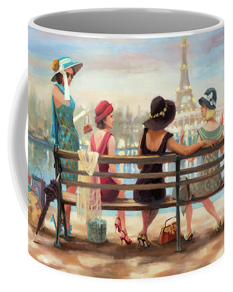 Paris Coffee Mug featuring the painting Girls Day Out by Steve Henderson