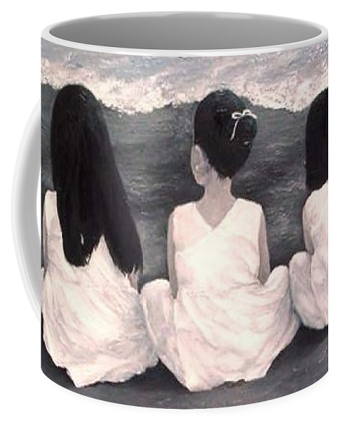 Girls Coffee Mug featuring the painting Girls In White at the beach by Patricia Awapara