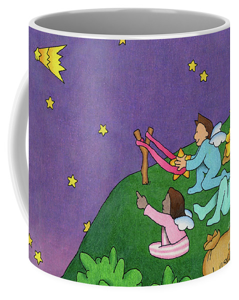 Angels Coffee Mug featuring the drawing Giving Wishes Wings by Sarah Batalka