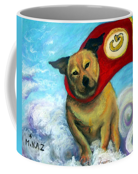 Dog Coffee Mug featuring the painting Gizmo The Great by Minaz Jantz