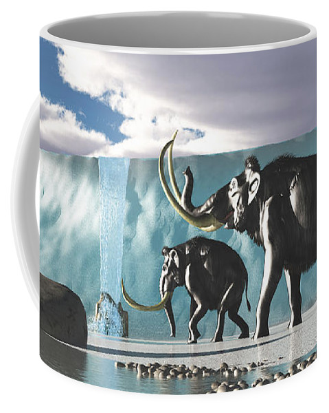 Woolly Mammoth Coffee Mug featuring the painting Glacier Mammoths by Corey Ford