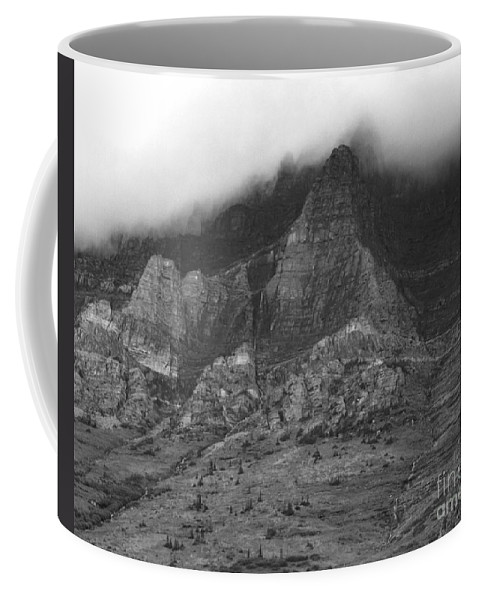 Glacier National Park Montana Horizontal Black And White Mountain Cloud Landscape Striation Pine Tree Waterfall Coffee Mug featuring the photograph Glacier National Park Montana Horizontal by Heather Kirk