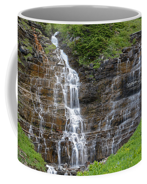 Glacier National Park Coffee Mug featuring the photograph Glacier Waterfalls by Whispering Peaks Photography