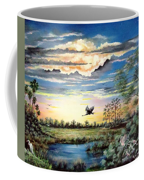 Afterglow Coffee Mug featuring the painting Glades Afterglow by Riley Geddings