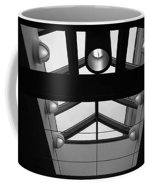 Black And White Coffee Mug featuring the photograph Glass Sky Lights by Rob Hans