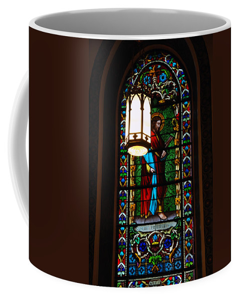Cathedral Basilica In Santa Fe Coffee Mug featuring the photograph Glass Window Of Saint Philip In The Basilica In Santa Fe by Susanne Van Hulst