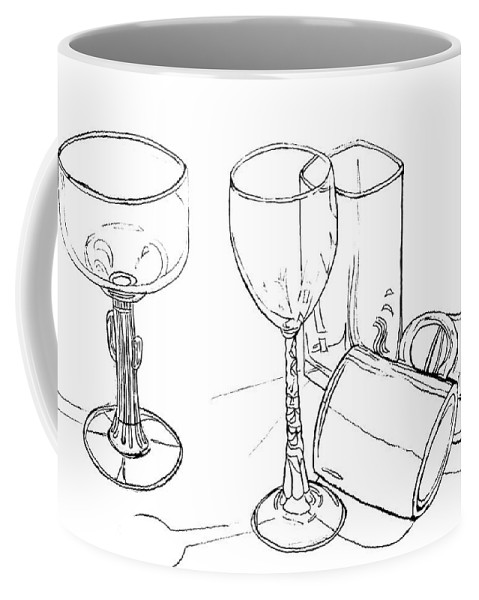 Contour Line Drawing Coffee Mug featuring the drawing Glasses by Jean Haynes
