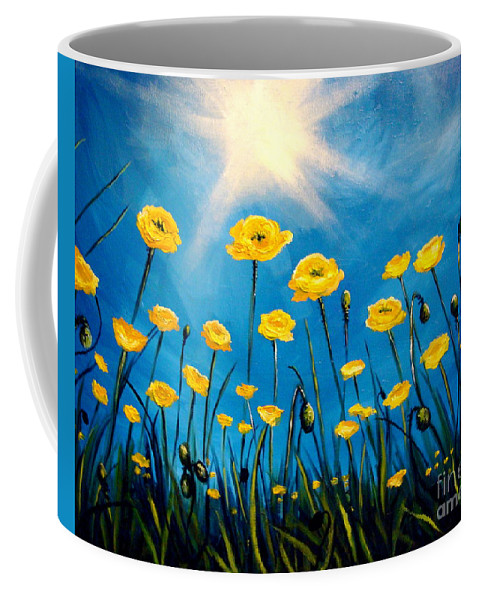 Poppies Coffee Mug featuring the painting Gleaming by Elizabeth Robinette Tyndall