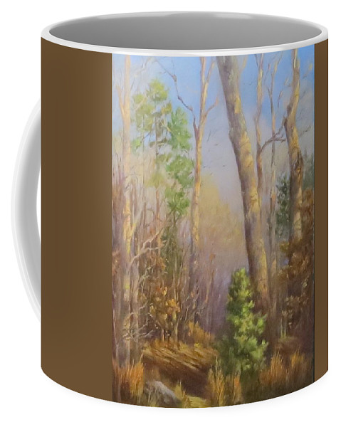 Forest Coffee Mug featuring the painting Glenmoor Woods, Sunset by Inka Zamoyska
