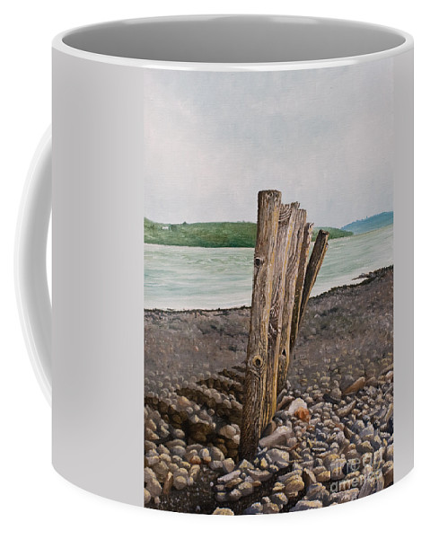Landscape Beach Stones River Shannon Glin Wood Breakers Clare Shadows Coffee Mug featuring the painting Glin Beach Breakers by Pauline Sharp
