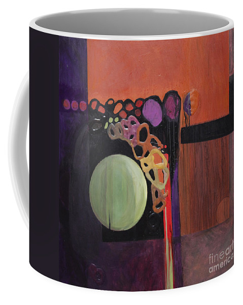 Abstract Coffee Mug featuring the painting Globular by Marlene Burns