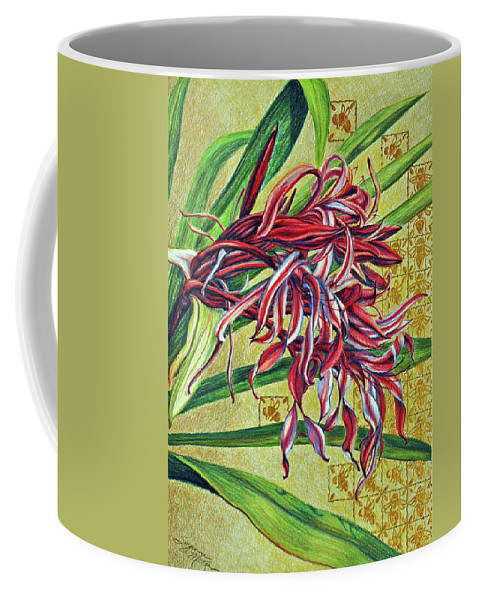 Mixed Media Coffee Mug featuring the drawing Glorious Crinum by Suzanne McKee