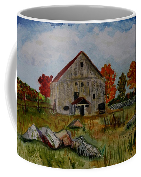 Glover Vt Coffee Mug featuring the painting Glover Barn In Autumn by Donna Walsh