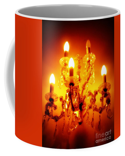 Dining Room Decor Coffee Mug featuring the photograph Glowing Chandelier--companion Piece by Carol Groenen