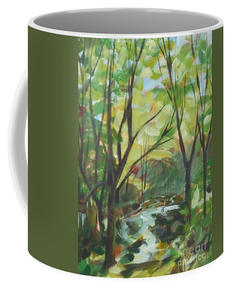 Painting Coffee Mug featuring the painting Glowing From The Flood by Claire Gagnon