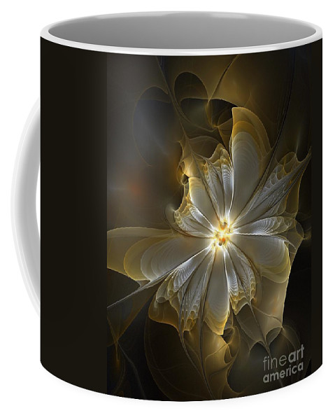 Digital Art Coffee Mug featuring the digital art Glowing In Silver And Gold by Amanda Moore