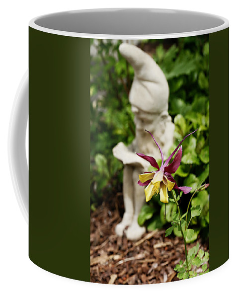 Flower Coffee Mug featuring the photograph Gnome And Columbine by Marilyn Hunt