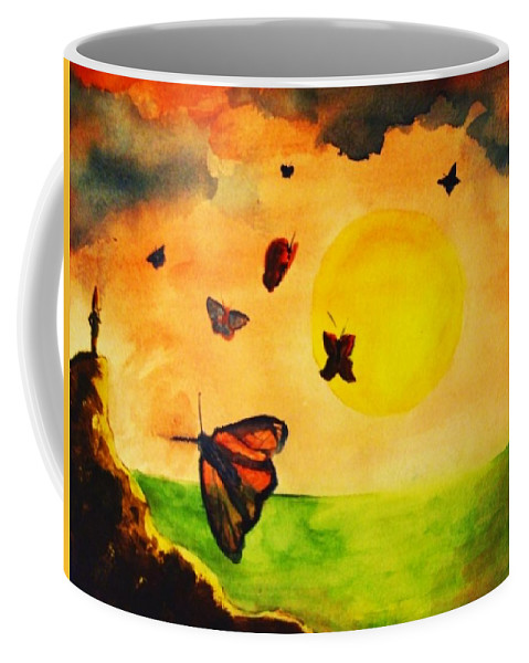 Gnome Coffee Mug featuring the painting Gnome And Seven Butterflies by Andrew Gillette