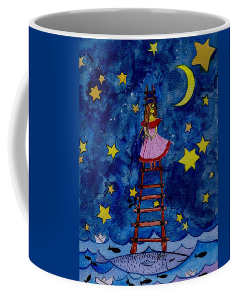 Sky Coffee Mug featuring the painting Go Down by Sweeping Girl