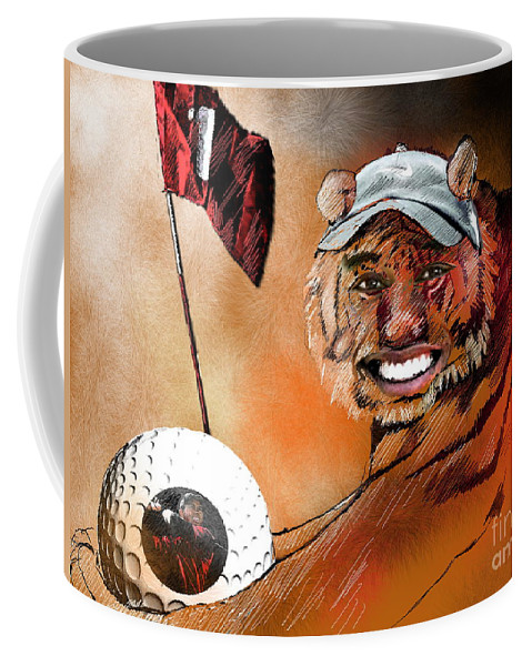 Golf Art Coffee Mug featuring the painting Go For It by Miki De Goodaboom