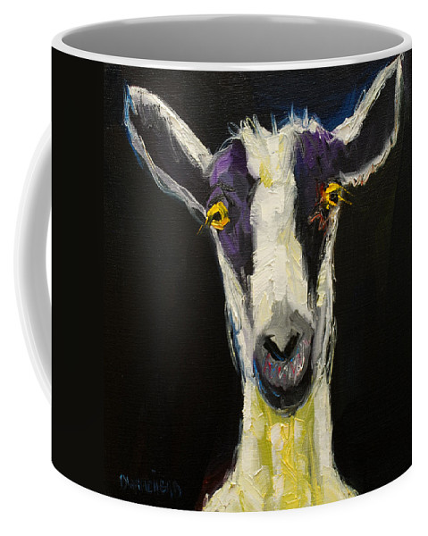 Goat Coffee Mug featuring the painting Goat Gloat by Diane Whitehead