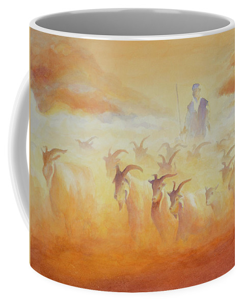 Goats Coffee Mug featuring the painting Goat Herder by George Harth