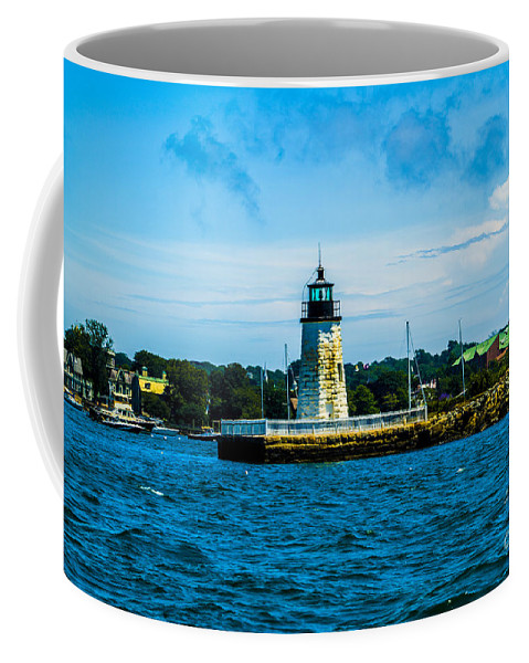 Goat Island Is A Small Island In Narragansett Bay And Is Part Of The City Of Newport Coffee Mug featuring the photograph Goat Island Light House by Jasmin Hrnjic