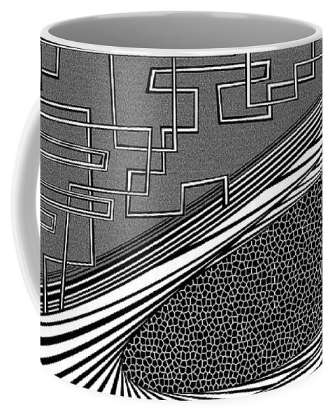 Dynamic Black And White Coffee Mug featuring the painting Goats And Sheep by Douglas Christian Larsen