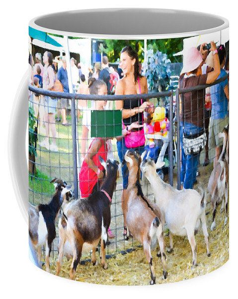 Cute Goat Coffee Mug featuring the painting Goats At County Fair by Jeelan Clark