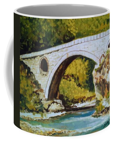 Goat's Bridge Coffee Mug featuring the painting Goat's Bridge by Sinisa Saratlic