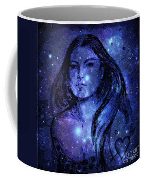 Coffee Mug featuring the drawing Goddess In Blue by Leanne Seymour