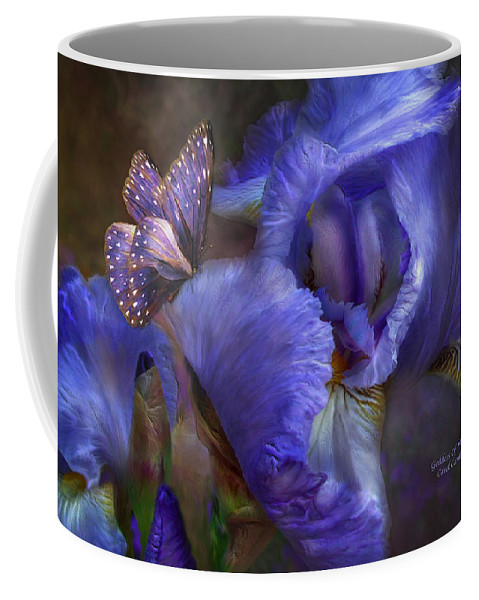 Iris Coffee Mug featuring the mixed media Goddess Of Mystery by Carol Cavalaris
