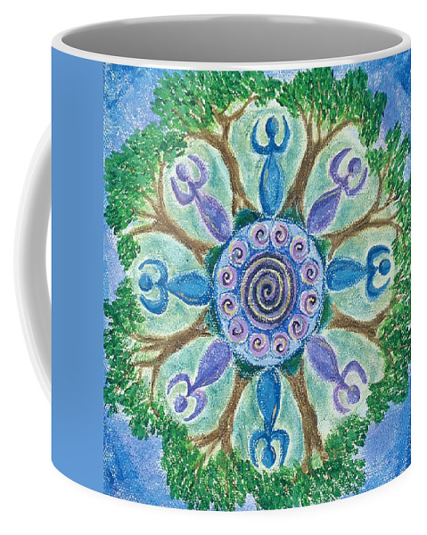 Goddess Coffee Mug featuring the painting Goddesses Dancing by Charlotte Backman