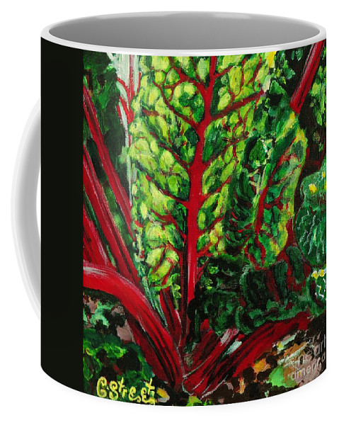 Vegetables Coffee Mug featuring the painting God's Kitchen Series No 7 Swiss Chard by Caroline Street