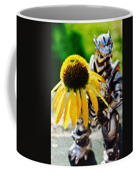 Godzilla Coffee Mug featuring the photograph Godzilla With A Yellow Flower by Modern Art