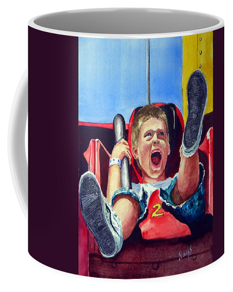 Boy Coffee Mug featuring the painting Goin' Down by Sam Sidders