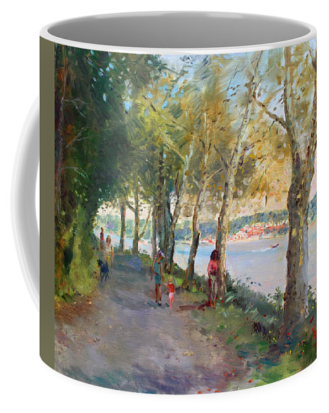 Strolling Coffee Mug featuring the painting Going For A Stroll by Ylli Haruni