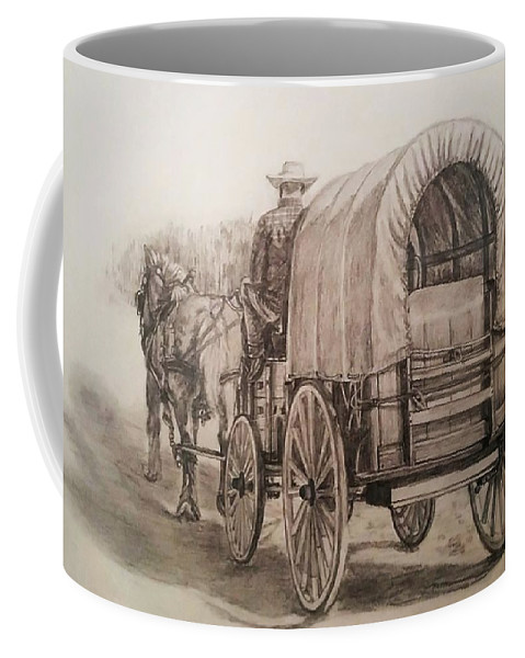 Horse Coffee Mug featuring the drawing Going Shopping by Sheryl Gallant