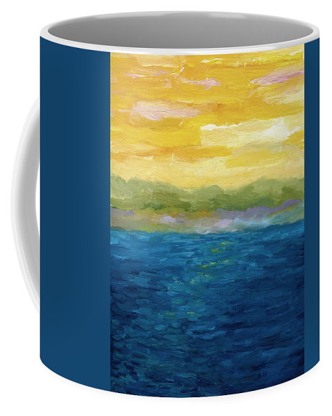 Lake Coffee Mug featuring the painting Gold And Pink Sunset by Michelle Calkins